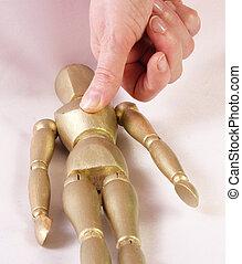 Mannequin - A mannequin in golden color is depressed