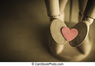 mannequin, ame coração, oferecendo