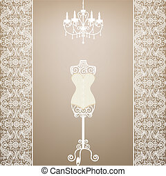 mannequin and chandelier - Vintage card with mannequin and...