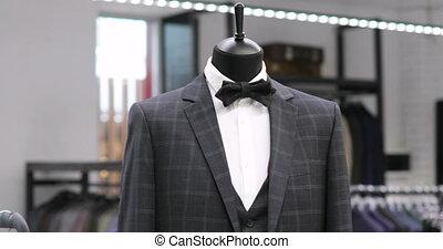 mannequin., clothing., achats, hommes, veste, suit., élégant...