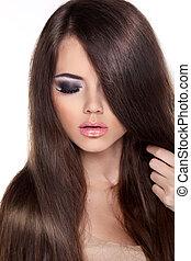 mannequin, frau, mit, langer, gesunde, brauner, hair., schoenheit, brünett, m�dchen, freigestellt, weiß, hintergrund., professionell, makeup.