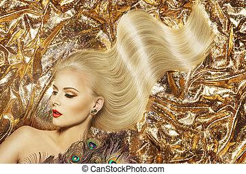 mannequin, hairstyle, en, beauty, makeup, vrouw, zwaaiende , gouden, kleur, ?f?? t???a?, en, mooi, opmaken, goud, weefsel, achtergrond