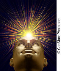 Mannequin head with an explosion of light above
