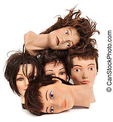 mannequin heads - some different mannequin heads on a white...