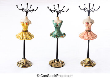 Mannequin hoders for jewelry - Three colored mannequins ...