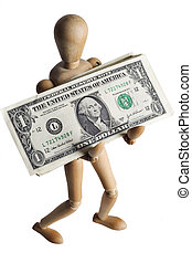 Mannequin holding a dollar on a white backdrop
