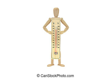 Mannequin holding Thermometer 100 degrees