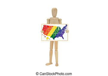 USA Map Gay Pride colors - Mannequin holding whiteboard with...