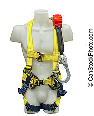 Mannequin in safety harness equipment and lanyard for work...