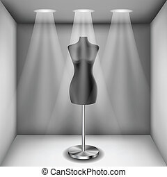 Mannequin in showcase with light eps10