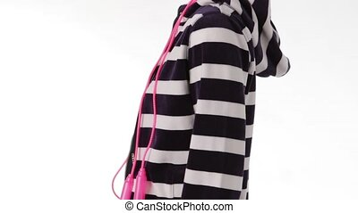 Mannequin in striped hoodie turning. Mannequin with pink...