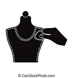 mannequin., mancha, web., símbolo, costura, costura, estilo, ilustración, tiza, equipo, solo, vector, negro, icono, acción