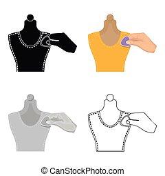 mannequin., mancha, web., símbolo, costura, costura, estilo, ilustración, tiza, equipo, solo, vector, icono, caricatura, acción