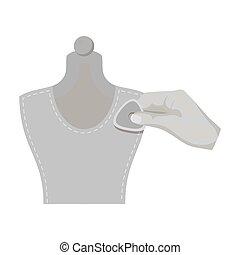 mannequin., mancha, web., símbolo, costura, costura, estilo, ilustración, tiza, equipo, solo, vector, monocromo, icono, acción