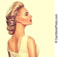 mannequin, meisje, verticaal, met, updo, hairstyle