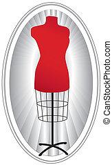 mannequin, ovaalvormige omlijsting