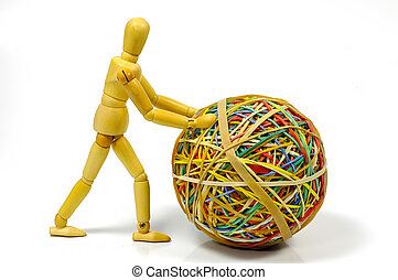 Mannequin Pushing a Rubberband Ball
