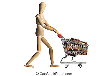 Mannequin pushing a shopping cart filled with pennies