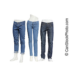 Mannequin set of blue jeans isolated on white background.