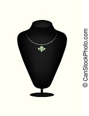 Mannequin silhouette with emerald diamond necklace