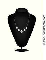 Mannequin silhouette with pearl necklace
