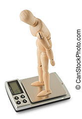 Mannequin standing on the digital scale