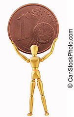 Mannequin - A mannequin in golden color with a 1 cent coin