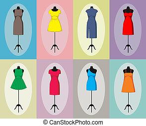 mannequin., vendange, différent, vecteur, robes
