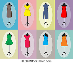 mannequin., vindima, diferente, vetorial, vestidos