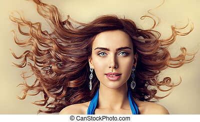 mannequin, wind, in, zwaaiende , haar, vrouw, beauty, verticaal, en, krullend, hairstyle, mooi, meisje, gezicht, makeup