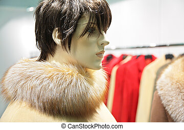 mannequin woman with fur
