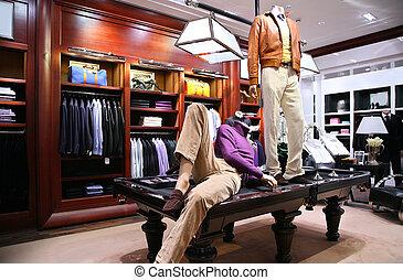 mannequins, auf, tisch, in, laden