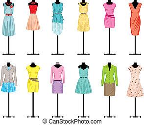mannequins, com, roupa mulheres