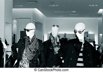 mannequins, do, jeden, móda, sklad