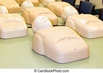 mannequins in cpr training class cardiopulmonary resuscitation