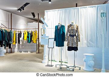 mannequins, in, modieus, jurken