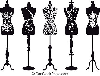 mannequins, vektor, mode, sæt