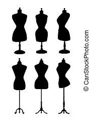 mannequins., vendange, vecteur, silhouettes.