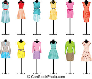 Image of mannequins with different fashionable women's clothing.