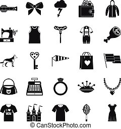 Mannerism icons set, simple style - Mannerism icons set....