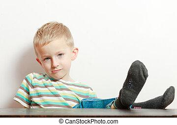 manners., aburrido, child., niño, travieso