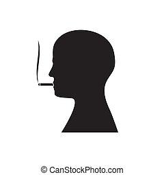 mannes, mund, freigestellt, kopf, image., silhouette, seine, hintergrund., qualmende , vektor, weißes, zigarette