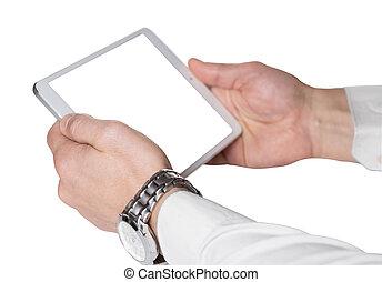 mannetje hands, met, tablet, computer