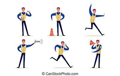 mannetje hands, vervaardiging, officier, politieagent, vector, verkeer, zijn, staand, tekens & borden, kruispunten, uniform, illustratie, verzameling