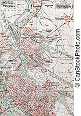 mannheim, siglo xix, viejo, mapa