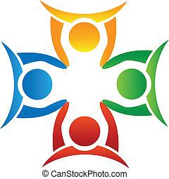 mannschaft, halten hände, logo