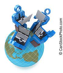 mannschaft, kommunikation, mit, gruppen, von, geschäftsmenschen, arbeitende , in, partnerschaft, global, networking