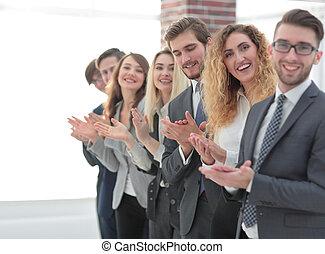mannschaft, lächeln, applauding., geschaeftswelt