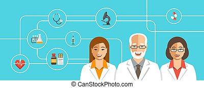 mannschaft, medizin, doktoren, heiligenbilder