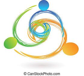 mannschaft, swooshes, halten hände, logo